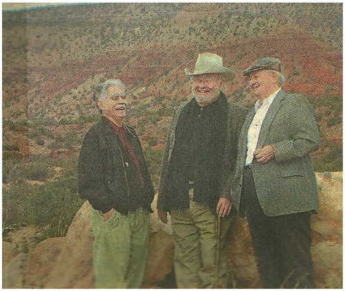 Paul Bearce, For the Journal MEETING OF THE MINDS: Rudolfo Anaya, left N. Scott Momaday and Tony Hillerman talk Saturday before appearing at Jemez Springs High School. The three best-selling New Mexico authors appeared together for the first time at a fund-raiser for the Jemez Springs Library.Paul Bearce/Albuquerque Journal