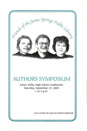 Front cover of author symposium pamphlet