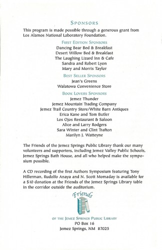 Back cover of author symposium pamphlet