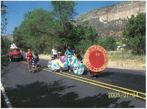 The library float in the Fourth of July parade in 2005 was a bookworm.