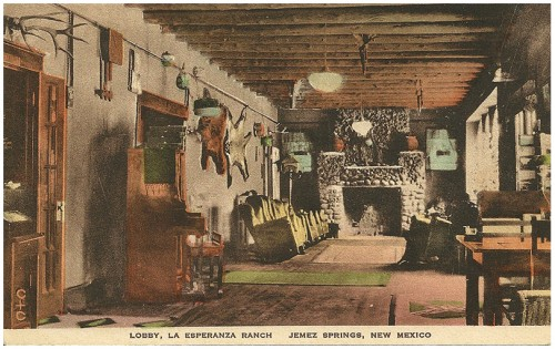 Lobby, La Esperanza Ranch, Jemez Springs, New Mexico Hand Colored Post Card/Post Cards of Quality-The Albertype Co.