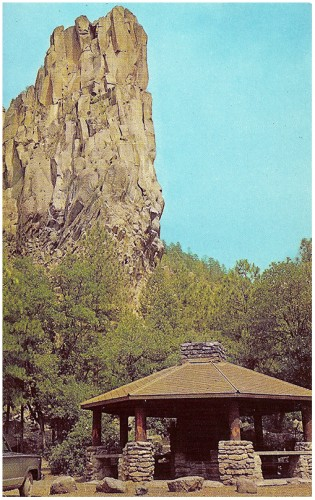 Battleship Rock, Jemez Mountains, New Mexico To the west of Santa Fe, the beautiful Jemez Mountains with their many recreational facilities are enjoyed by visitors and natives, while studying this area with its history of long ago. Courtesy by N.M. State Park Dept./Distributed by Southwest Post Card Co.