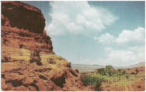 Rock Formations and Scenery in the Jemez Mountains, New Mexico Jemez(pronounced Hemez) Mountains are located north of Albuquerque and west of Santa, Fe, New Mexico, within easy driving distance from either city. These mountains offer various sports to the sportsman and beautiful scenery to the traveler. Kodachrome by Barnes & Caplin/Distributed by Southwest Post Card Co.