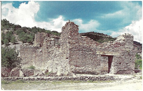 San Diego de Jemez Mission impressive stone ruins near Jemez Springs, New Mexico. This church was established by the Franciscans in 1617 and abandoned in the 12-year Indian rebellion, 1680-92. The Parish priest was killed by a arrow, in the church, on the second day of the rebellion against the Spanish. Kodachrome by Jack Taylor/Published by Old Trail News Agency