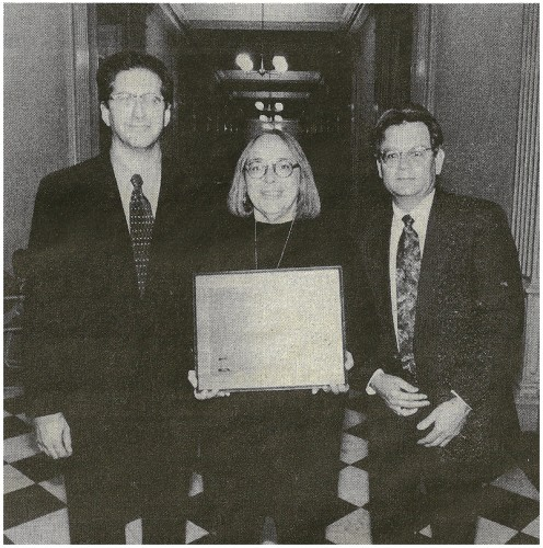CAPTION FOR PLAQUE AWARDED- DECEMBER 1, 1997 PLAQUE AWAREDED - National Civic League President Chris Gates, Jemez Thunder editor Kathleen Wiegner and Mayor David Sanchez were in Washington, DC, to receive the All-American City Award on Nov. 18. The Mayor was congratulated by Vice President Al Gore at the ceremony, which honored winners of the All-American City Award for the past three years. Jemez Springs won the award in 1995. Photo courtesy of National Civic League