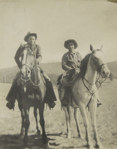 Valle Grande: Dick Fitzgerald, Ted Mather working on Franklin Bond Ranch, Used with permission from files of Sandoval County Historical Society.
