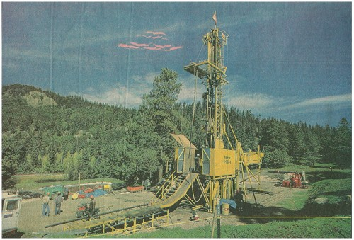 A 75-foot-tall drill rig, the largest diamond-core drill rig in the Valles Caldera, an ancient, collapsed volcano in the United States, is used to bore a scientific hole deep into Jemez Mountains. Richard Pipes/Albuquerque Journal